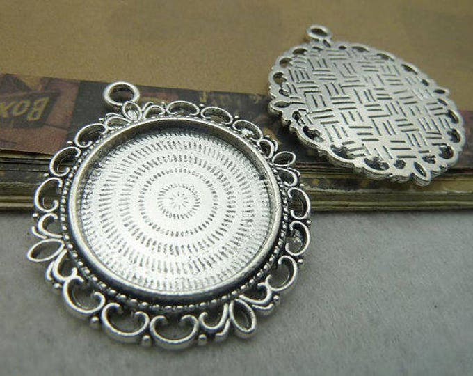 25mm Cabochons Pendant Antique Silver Tray Setting Bezel Trays, 1 Inch Trays DIY Jewelry Findings 5pcs/10pcs