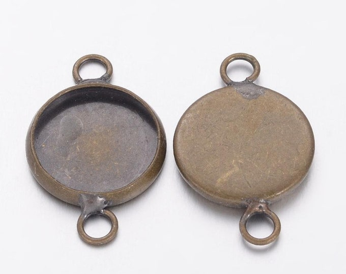 12mm Connector Cabochon Inner Bezel Tray Round Antique Bronze  Jewelry Findings.