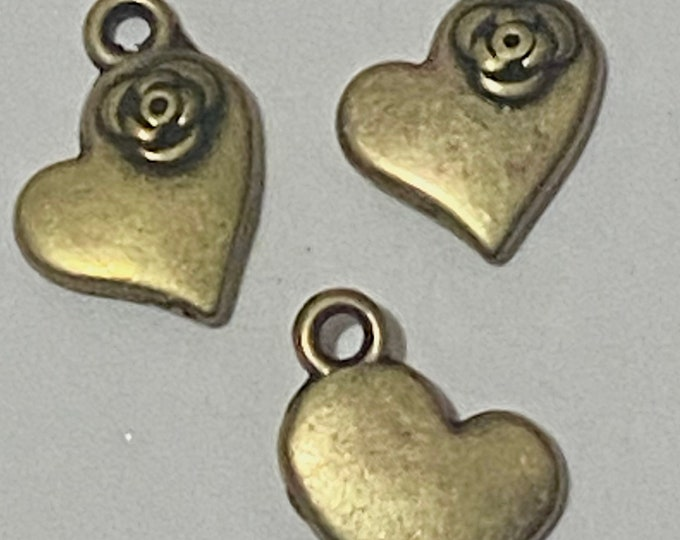 15mm Heart Pendant  Antique Bronze Pendant DIY Findings for Jewelry Making.