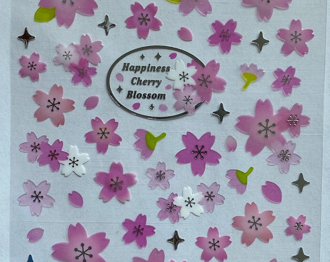 Cherry Blossom stickers Craft Sticker Sheet for Planning, Journaling, Collecting or Scrap booking 1 Sheet.
