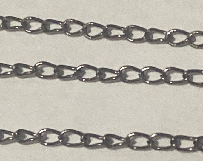 2x3mm Twisted Chain Black Gunmetal Chains Curb Chain DIY Jewelry Making Supplies Findings.