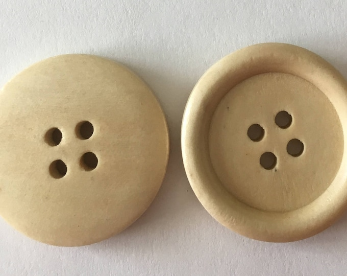 25mm Buttons wooden Round 4-Hole, DIY Jewelry Making Findings.