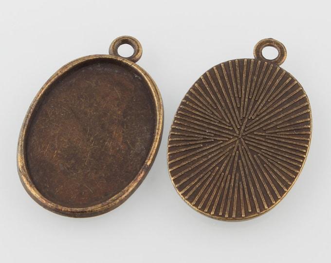 25x18mm Pendant Oval Cabochon Setting Pendant Antique Bronze Bezel Inner Tray  DIY Jewelry Pendant Bracelet Necklaces.