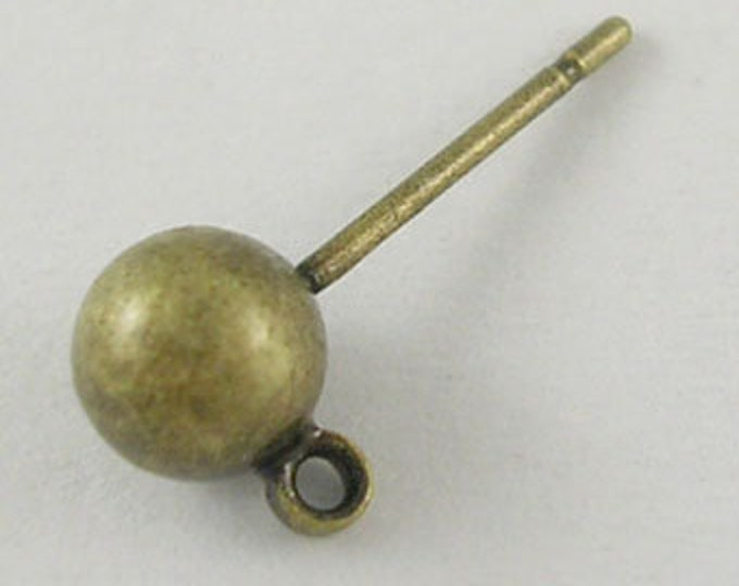 5mm Ball Post Ear Studs with Loop Bronze color  DIY Jewelry Making Findings.