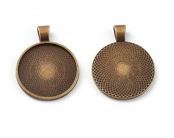 25mm Cabochon Setting Pendant Bezel Tray Inner Antique Bronze  DIY Findings for Jewelry Making 5pcs/10pcs/20pcs.