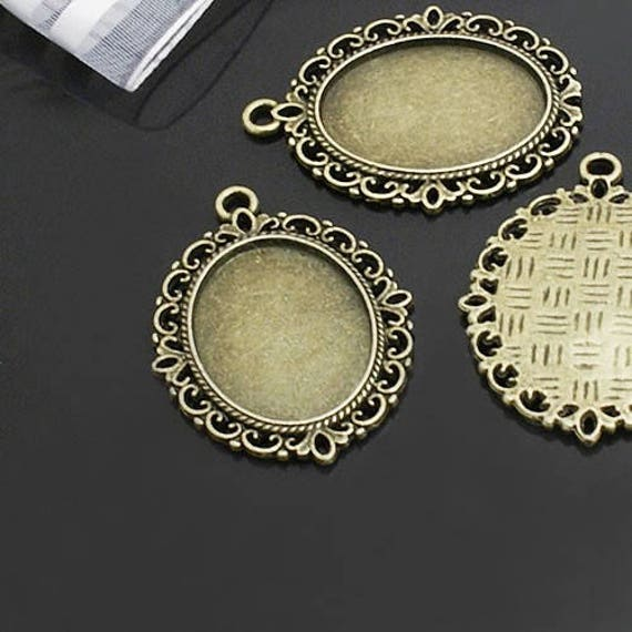 ,Pendant findings,cabochon blank findings 5pcs of New style Antique bronze oval Cabochon pendant tray Cabochon size 18x25mm