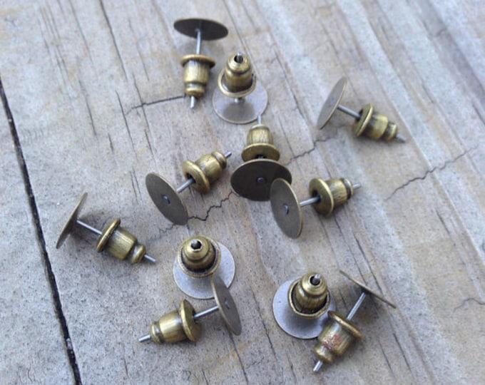 8mm Earring post pad Ear Studs with Ear Backs Back Stoppers, Bronze Earnuts DIY Jewelry Making Findings .