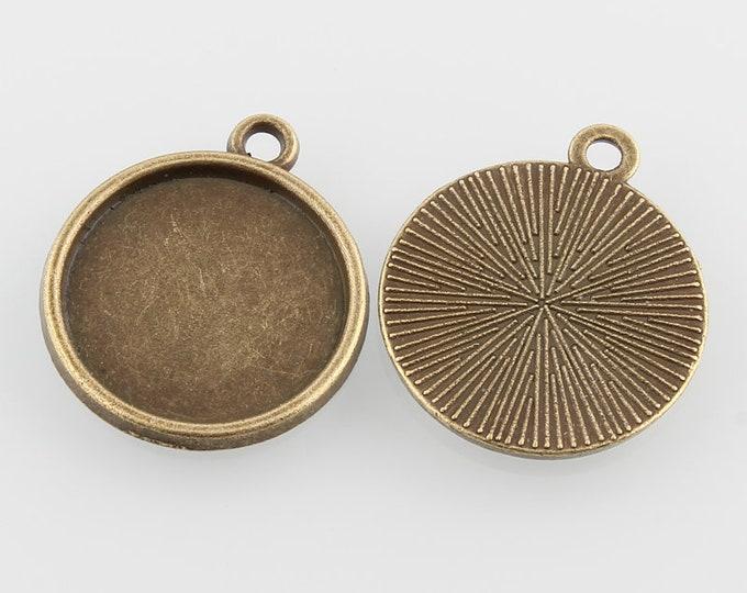 16mm Cabochons Pendant Antique Bronze Tray Setting   Bezel Trays DIY Jewelry Findings 20pcs/40pcs/ 60pcs/ 100pcs