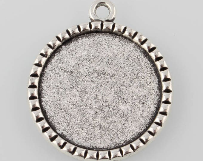 25mm Cabochon pendant Setting Bezel Trays, 1 Inch Antique Silver Trays DIY Jewelry Findings 40pcs.