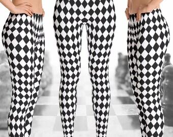 1cc60af2dd6f9 Black and White Checkered Leggings | Black & White Rhombus Leggings |  Checkers Leggings | Chess Leggings | Checkered Yoga Pants