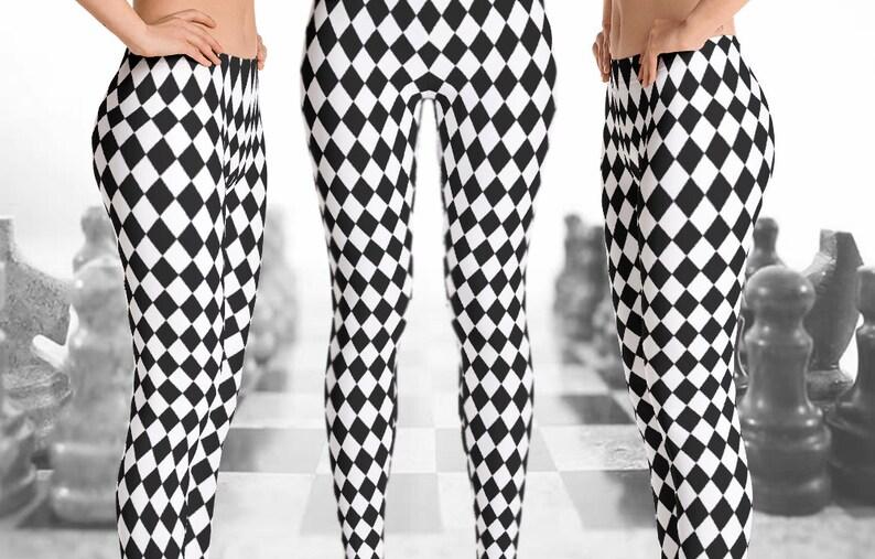 4e0723976d3c5 Black and White Checkered Leggings Black & White Rhombus | Etsy