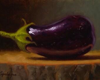 Baby Eggplant - Fine Art Giclee Print - Original Oil Painting - Still Life - Kitchen Decor