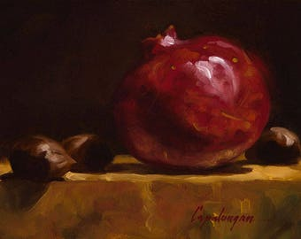 Pomegranate And Chestnuts - Fine Art Giclee Print - Original Oil Painting - Still Life - Kitchen Decor