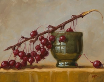 Tea Cup and Crabapples - Fine Art Giclee Print - Original Oil Painting - Still Life - Kitchen Decor