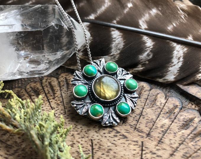 Featured listing image: Labradorite turquoise cluster pendant