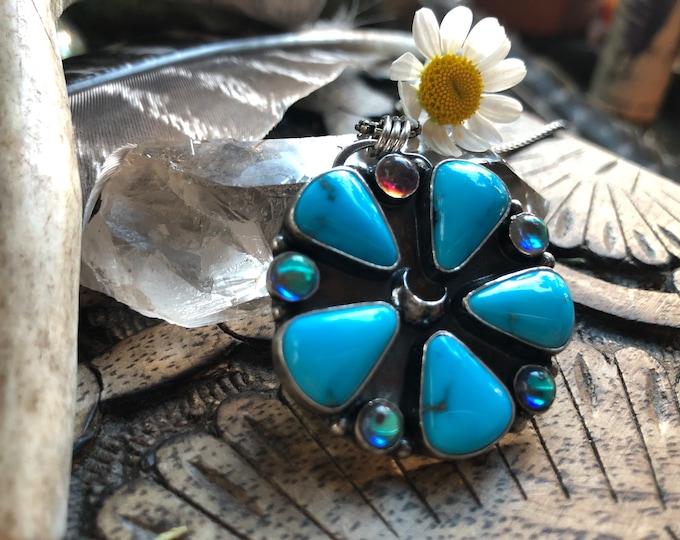 Featured listing image: Sleeping Beauty Turquoise Aura Quartz cluster
