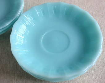SAUCER ONLY  Rare Vintage Pyrex Crown embossed Robin Egg Blue Tea/Coffee Saucer Made in Canada