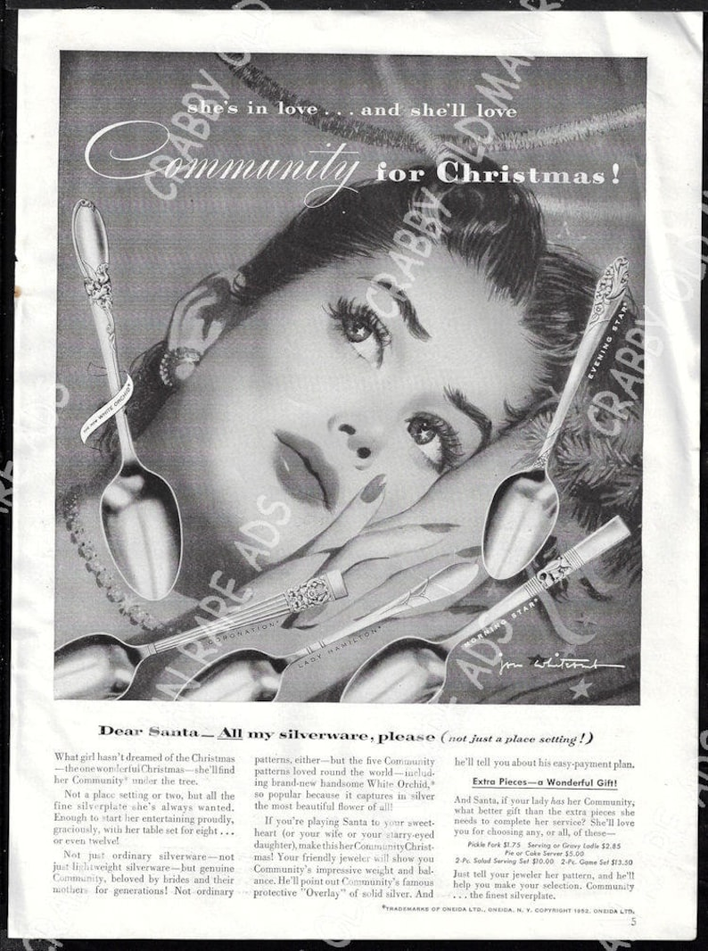 Fine Original Print Ad 1950 Community Silverplate Jon Whitcomb Artwork Christmas 1940-49