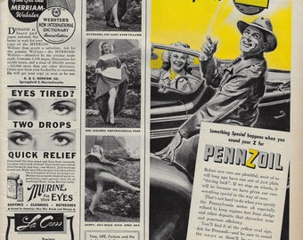 """1944 Pennzoil Motor Oil Print Ad - For """"luck"""" that holds sound  your Z, -Dupont Anti-freeze, - Laminating Available"""