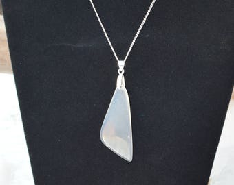 Clear White Agate Necklace Pendant, New Mexico Clear Agate, Chalcedony