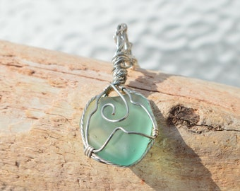 Lake Superior Beach Glass Necklace for Women, Seafoam Green Beach Glass Pendant