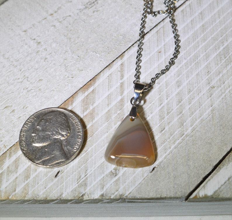 Lake Superior Agate Necklace Teardrop Orange and White Natural Minnesota Agate