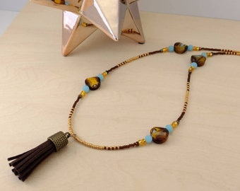 Brown Tassel Beaded Necklace
