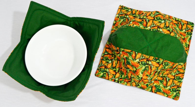 Microwave Bowl Cozies Corn with Green Fabric 2 Styles Available Each Sold Separately