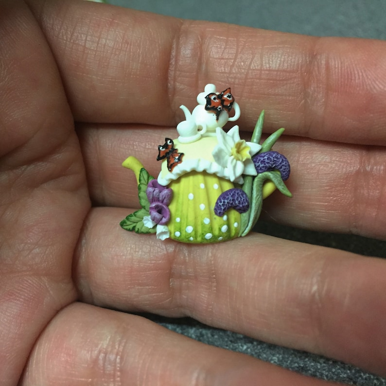 Dolls Ooak Miniature Collectable Handmade Polymer Clay Flower Tabletop Teapot