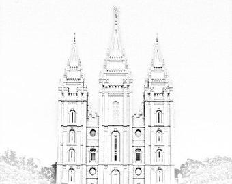 Digital Download: Salt Lake City Utah Temple Pencil Effect