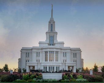 Utah Payson Temple from the front taken during Summer sunset