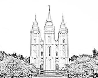 Digital Download: Salt Lake City Utah Temple Black and White Pencil Effect