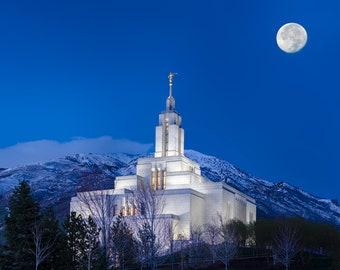 Utah Draper Temple Winter Night