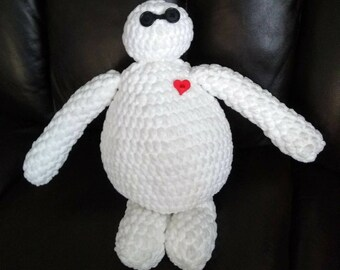 Crocheted plush Baymax style robot stuffie
