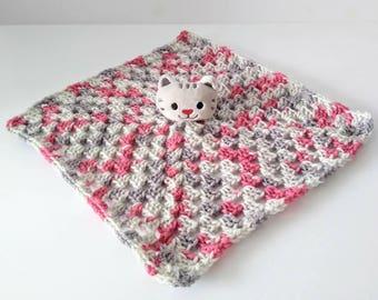 Little girls crocheted cat lovie blanket