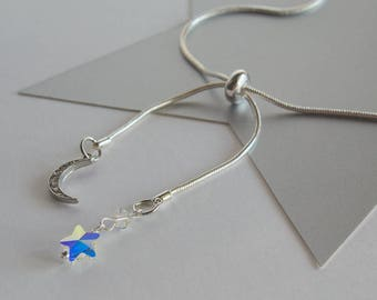 Moon and Star Adjustable Slider Necklace