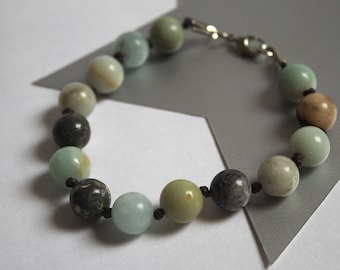 Amazonite Glass Knotted Bracelet