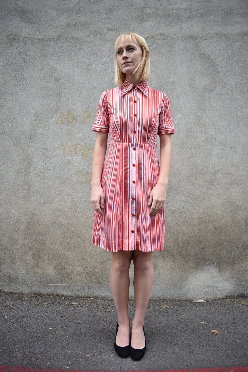 1644f5edf6e Japanese vintage red striped dress collar short sleeves