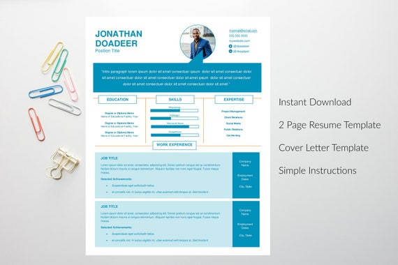 Creative Resume Template Cv Template Instant Download Editable In Ms Word Cover Letter Printable Diy Digital Download Infographic