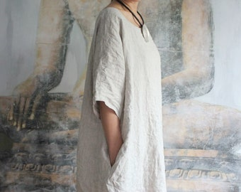 639f36ba36c Long linen dress with pockets