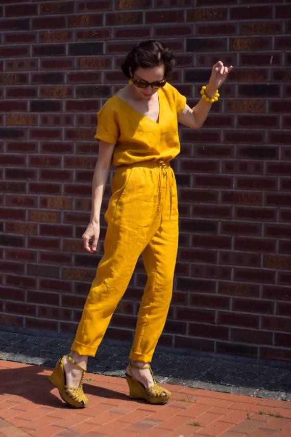 suit Gift Linen Plus Size Size Jumpsuit Women Linen Jumpsuit overall Clothing Overall Yellow Overall Linen Plus Linen Linen jumpsuit Womens IzfqxwB8HF