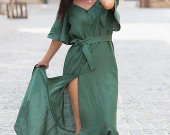 Linen dress,Plus Size Dress,Linen oversize Plus,Linen summer dress,Open Shoulders Green Dress,Green Linen Dress,Green Linen Women Dress