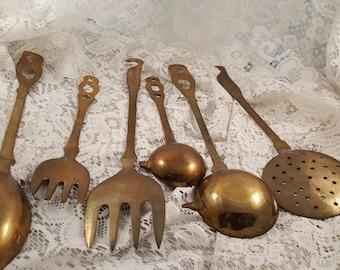 Antique brass 6 piece serving utensil set