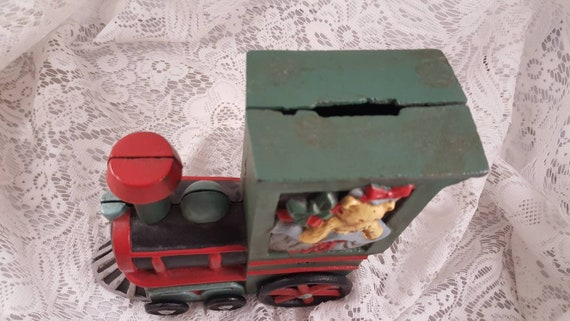 Christmas Train Cast.Cast Iron Christmas Train Bank