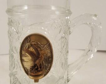 Glass beer mug with duck