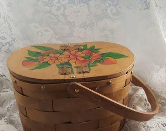 Vintage basket purse hand-painted.