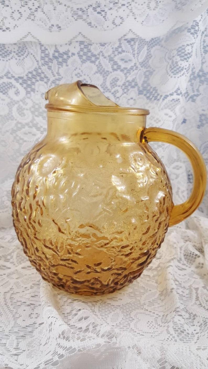 Vintage amber pebbled Anchor Hocking pitcher