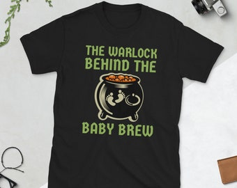 Halloween Baby Announcement Shirt, New Dad Reveal tee, Scary Warlock tshirt, Warlock behind the baby brew gift for pregnancy reveal shirt