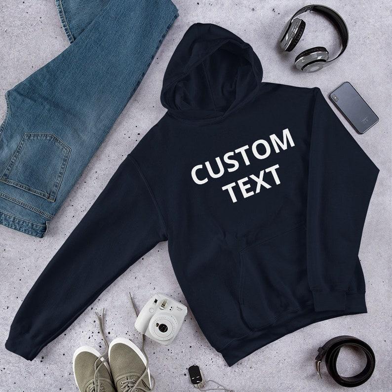 Custom Hoodie Unisex Customized Pullover Hooded Sweatshirt Navy