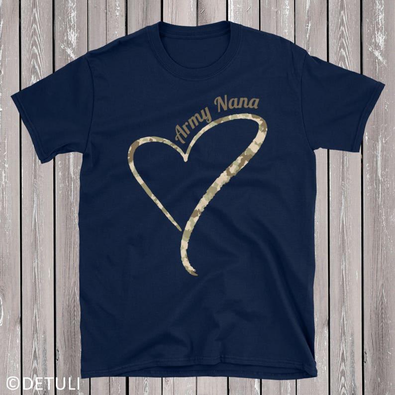 Proud Army Nana T Shirt Army Grandma Shirt Camouflage Heart image 0